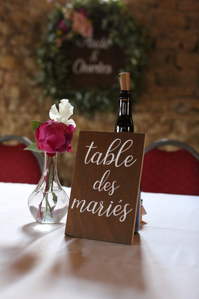numéro de table mariage en bois et vinyle