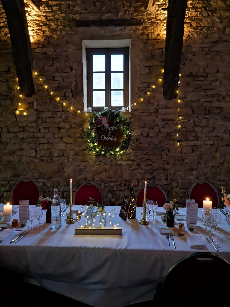 couronne table des mariés