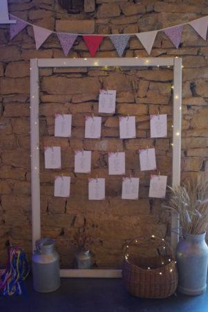 plan de table mariage avec un cadre
