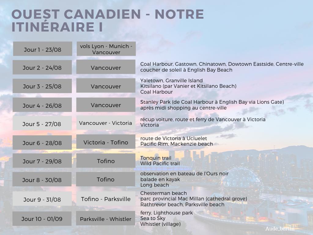 ouest canadien - notre itinéraire I